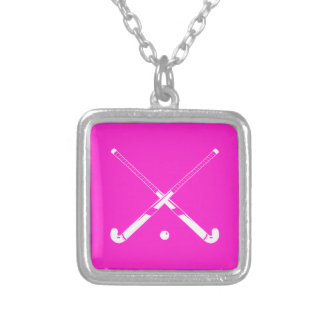 Field Hockey Silhouette Necklace Pink