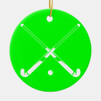 Field Hockey Silhouette Ornament Green