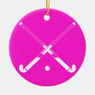 Field Hockey Silhouette Ornament Pink