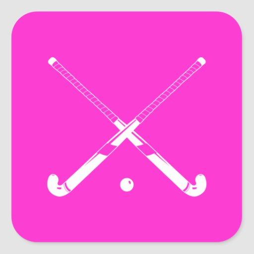 Field Hockey Silhouette Sticker Pink
