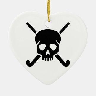 Field hockey skull ceramic heart decoration