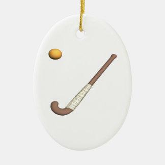 Field Hockey Stick & Ball Ceramic Oval Decoration