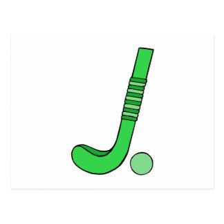 Field Hockey stick green Postcard