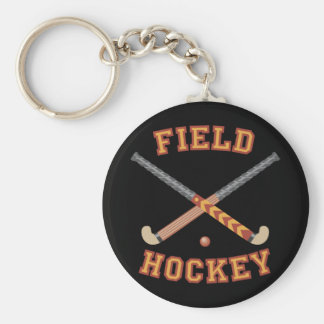 Field Hockey Sticks Basic Round Button Key Ring