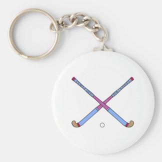 Field Hockey Sticks Basic Round Button Key Ring