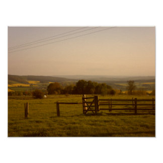 Field in English countryside Poster
