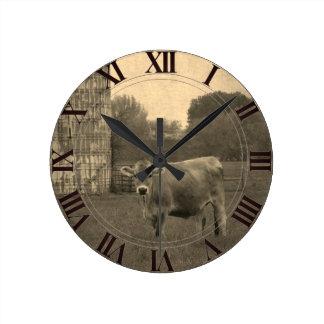 Field Jersey Cow Clockface Round Clock