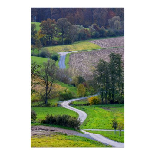 Field landscape with dirt road in the autumn, fore print