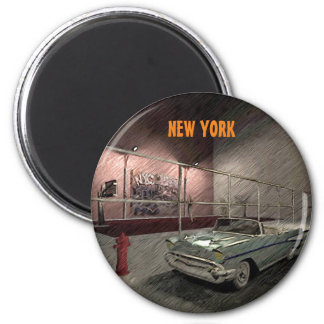 Field of basketball in a street of New York 6 Cm Round Magnet