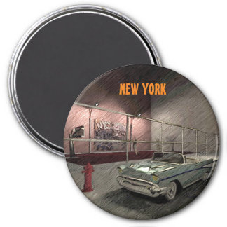 Field of basketball in a street of New York 7.5 Cm Round Magnet