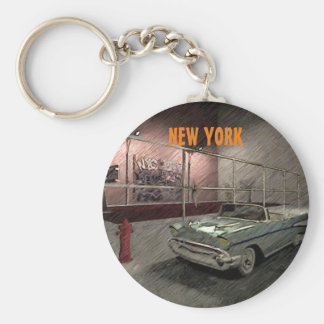 Field of basketball in a street of New York Basic Round Button Key Ring