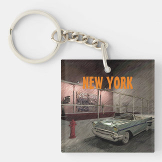 Field of basketball in a street of New York Double-Sided Square Acrylic Key Ring