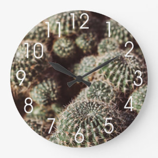 Field of Cacti, Warm Red Botanical Photograph Large Clock