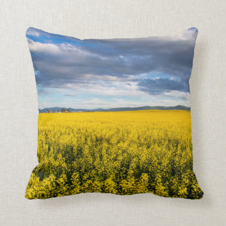 Field Of Canola In Late Evening Light Cushion