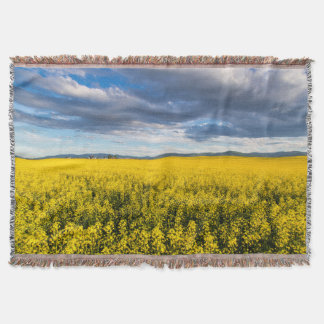 Field Of Canola In Late Evening Light Throw Blanket