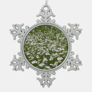 Field of Daisies Nature Photo Snowflake Pewter Christmas Ornament