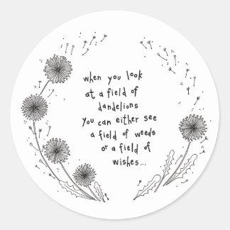 Field of dreams Dandelion Illustration Round Sticker