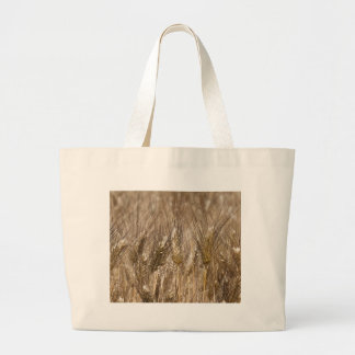 Field of ears of wheat large tote bag