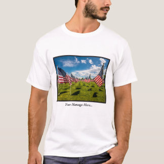 Field of Flags Remembering Fallen Soldiers T-Shirt