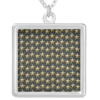 Field of gold stars at World War II Memorial Square Pendant Necklace