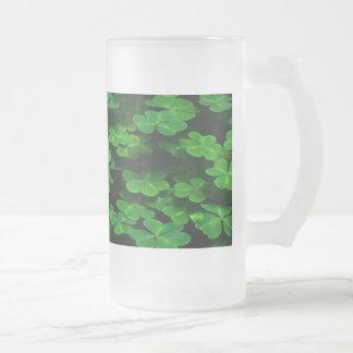 Field Of Green Shamrock Clover Frosted Glass Beer Mug