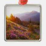 Field of lupine and Olympic Mountains at Christmas Ornament