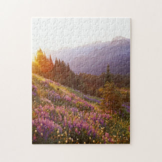 Field of lupine and Olympic Mountains at Jigsaw Puzzle
