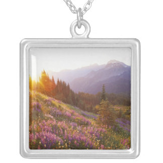 Field of lupine and Olympic Mountains at Silver Plated Necklace