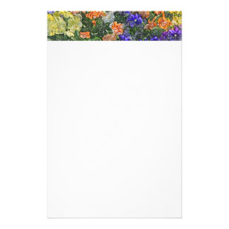 Field of multicolored pansies stationery