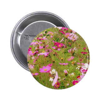 Field Of Pink Flowers 6 Cm Round Badge