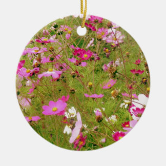 Field Of Pink Flowers Christmas Ornament