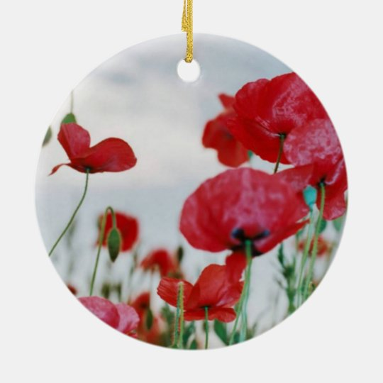 Field of Poppies Against Grey Sky Christmas Ornament