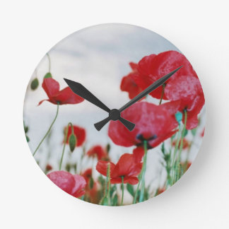 Field of Poppies Against Grey Sky Round Clock