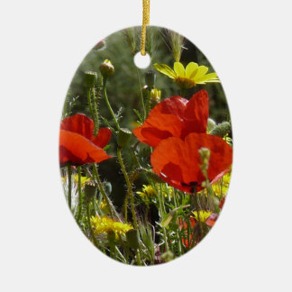 Field of Poppies Ceramic Oval Decoration