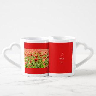 Field of poppies coffee mug set