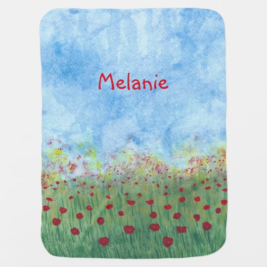 Field of Poppies Personalised Baby Blankets