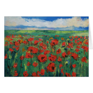 Field of Red Poppies Card