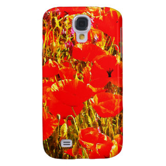 Field of Red Poppies Wildflowers Art Design 2 Galaxy S4 Case