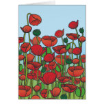 Field of red Poppy flowers Greeting Cards