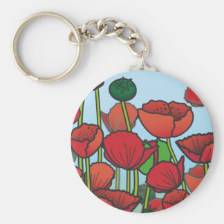 Field of red Poppy flowers Key Ring