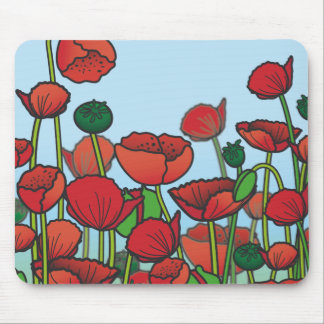 Field of red Poppy flowers Mouse Mat