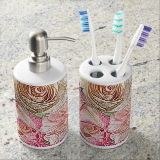 Field of Roses in Color Pencil Soap Dispenser And Toothbrush Holder