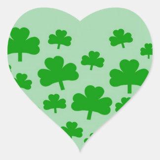 Field of Shamrocks Heart Sticker