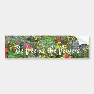 Field of spring flowers in bloom bumper sticker