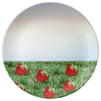 Field of Strawberries Porcelain Plate