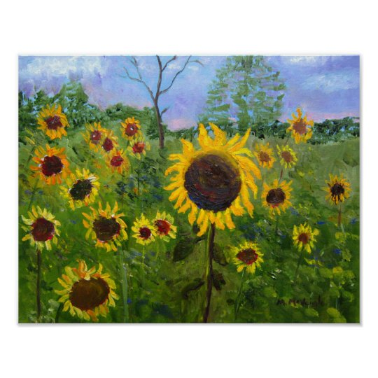 Field Of Sunflowers Art Poster