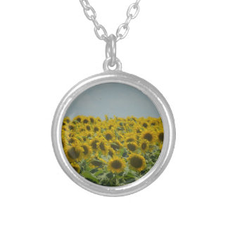 Field of Sunflowers Round Pendant Necklace