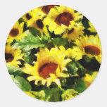 Field of Sunflowers Round Sticker