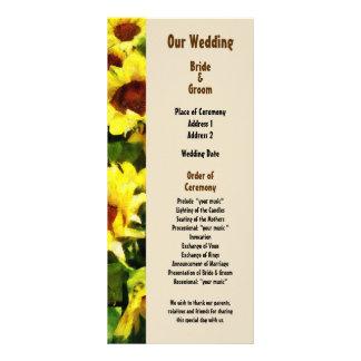 Field of Sunflowers Wedding Program Rack Card