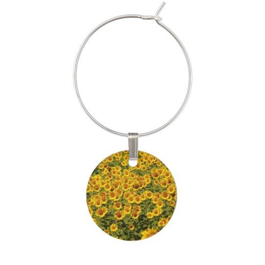 Field of Sunflowers Wine Glass Charm
